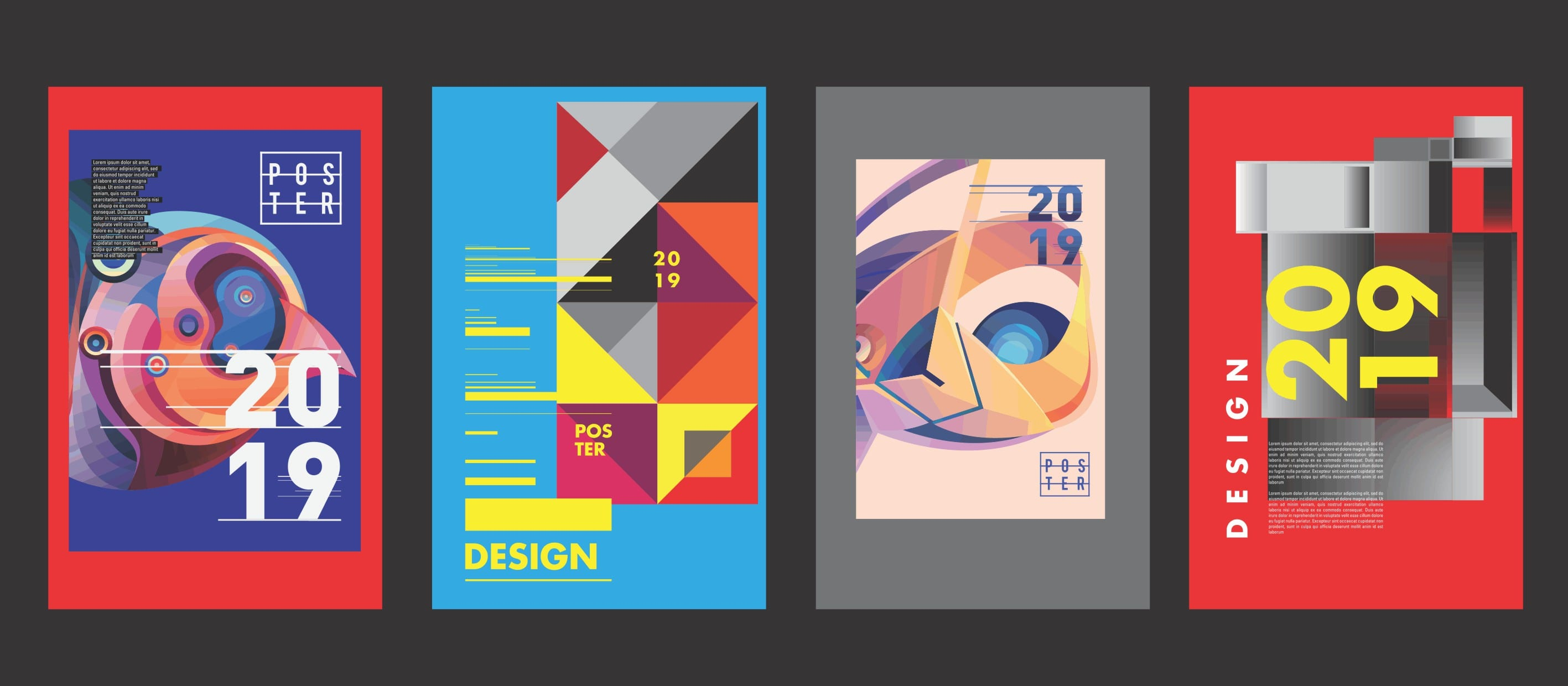 Designs concepts with asymmetrical designs, a graphic design trend for 2019
