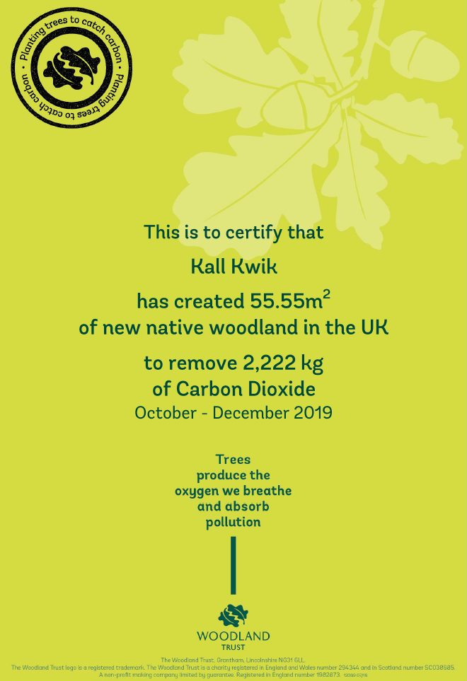 Carbon capture certificate for Kall Kwik St James's, London